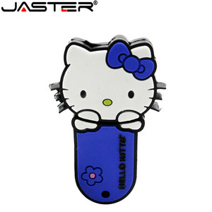 Image 2 - JASTER New style 4 colors Hello Kitty USB Flash Drive cat pen drive special gift fashion cartoon Animal pendrive 64GB/32GB/16GB