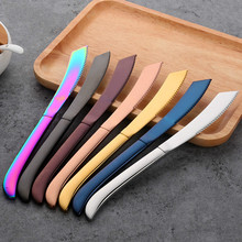 VOGVIGO Stainless Steel Rainbow Steak Knife Sharp Table Knives Restaurant Cutlery Dinner Black Dinnerware Set