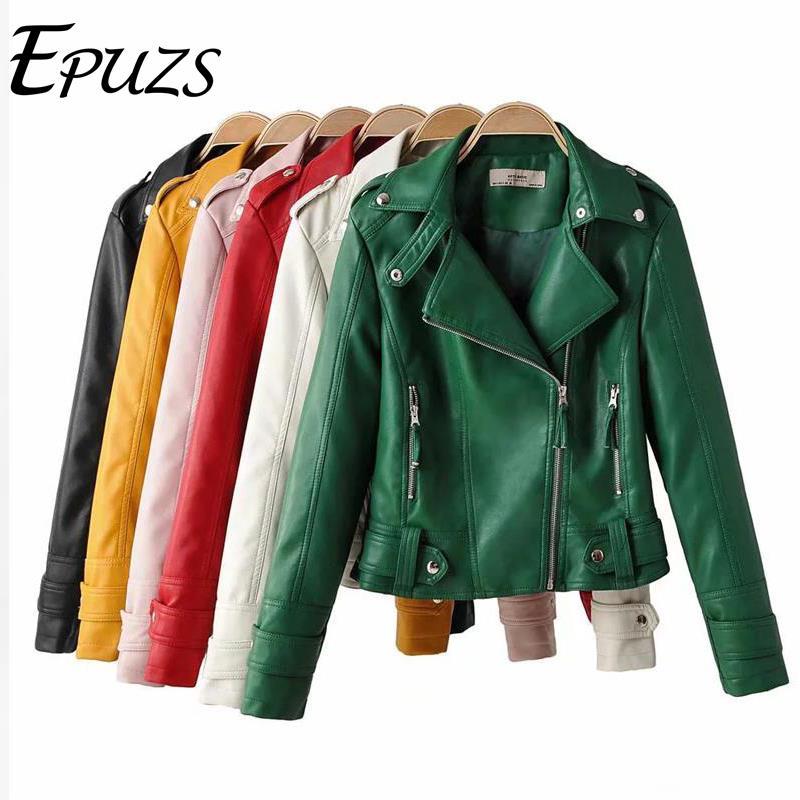 fashion black red PU   leather   jacket women zipper faux   suede   jacket long sleeve vintage coat turn down collar biker jacket 2019