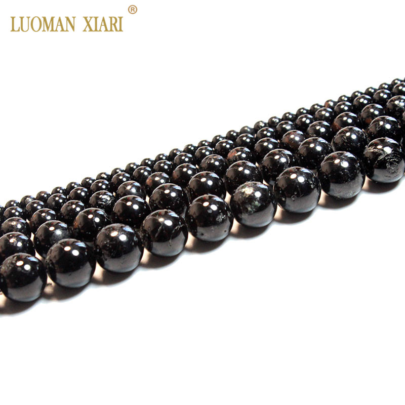 6,8,10,12mm Natural Black Tourmaline Beads Necklace Jewelry For Man Women Gift