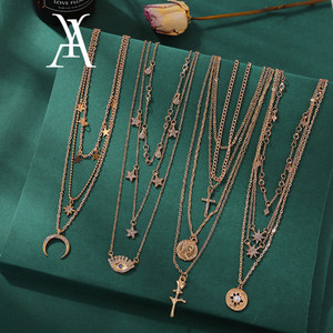 Bohemian Crescent Moon Star Multi layered Necklaces For Women Choker Vintage Coin Cross Pendant Necklace Statement Jewelry 2019