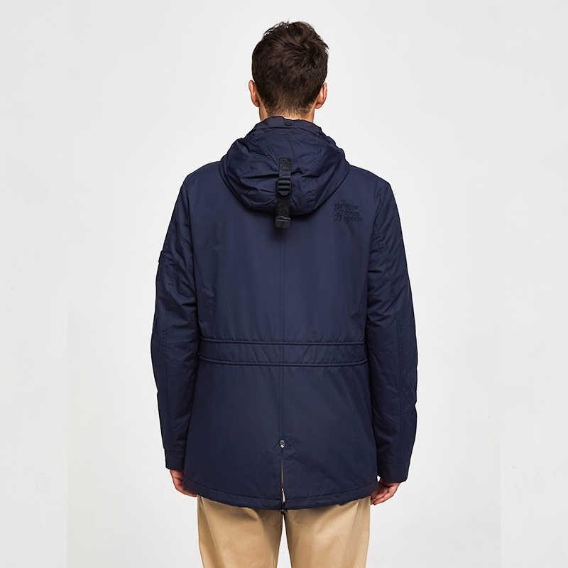 TIGER KRAFT Männer der Jacke Frühling Doppel-schicht Mit Kapuze Mantel Baumwolle Gepolsterte Solide Jacke Männer Medium-Lange Beiläufige windjacke Mantel