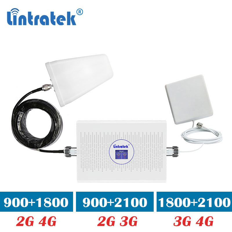 Lintratek 70dB Gain Dual Band 900 1800mhz 2g 4g GSM 900mhz 2100 Umts 3g Signal Cell Phone Booster Repeater Mobile Amplifier S9