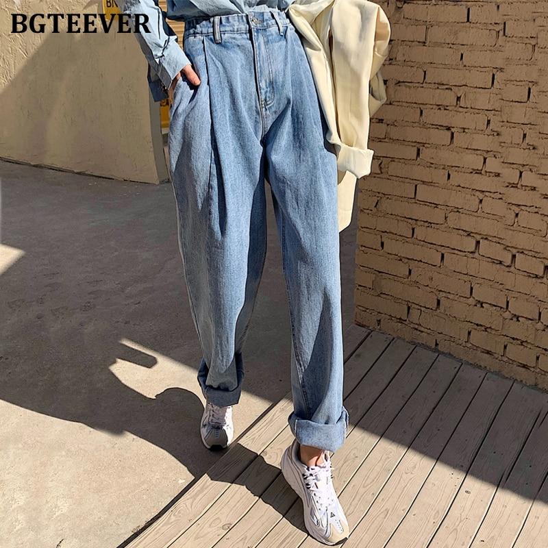 BGTEEVER Streetwear High Waist Denim Jeans For Women Spring Loose Harem Jeans Pants Female Irregular Jeans Pantalon Femme 2020