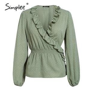 Image 5 - Simplee Vintage volants col en V femmes blouse chemise à manches longues à pois femme vert hauts élégant fête de vacances dames blouses