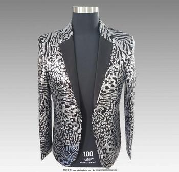 Silver Leopard Sequins Men Suit Nightclub Party Blazer Jacket Men Singer Presenter Stage Slim Fit Suit Coat Performance Clothes