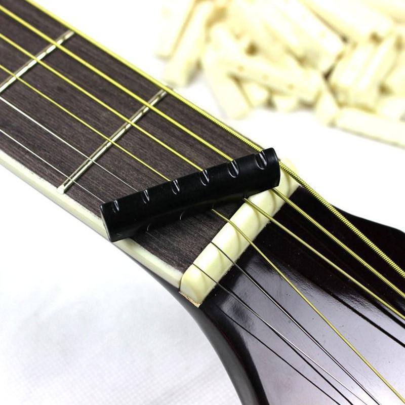 2Pcs/lot Buffalo Bone Ivory Upper Guitar Bridge Nut Saddle For 6 String Acoustic Guitar Music Instrument Replacement Spare Part