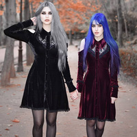 Dead Slient Costume Gothic Dark Punk Lace Mini Dress Halloween Women Cold Shoulder Shirt College Scary Alice Lolita For Girls