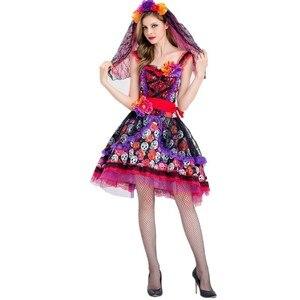 Image 5 - Traje de cosplay de caveira zumbi, fantasia mexicana do dia das bruxas, dia das bruxas, carnaval, festa, flor, fantasma, vestido de noiva