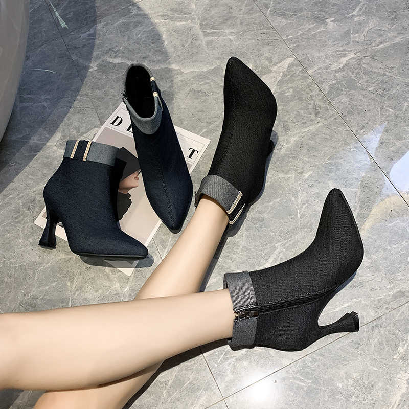 สีดำ DENIM บู๊ทส์รองเท้าส้นสูงข้อเท้าบางสำหรับผู้หญิง 2020 แฟชั่นฤดูหนาวเปิด Over ตกแต่งสั้น Booties ผู้หญิง