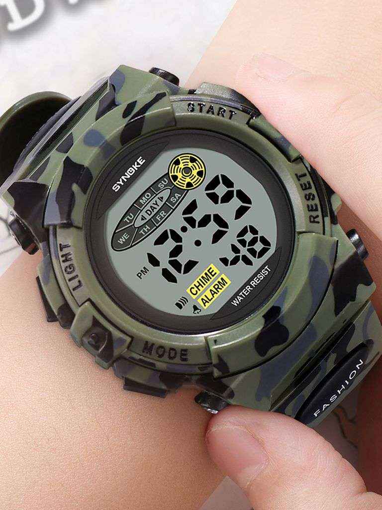 Kids Watch Lights Military Sports Waterproof Synoke Children Boys Camouflage Colorful