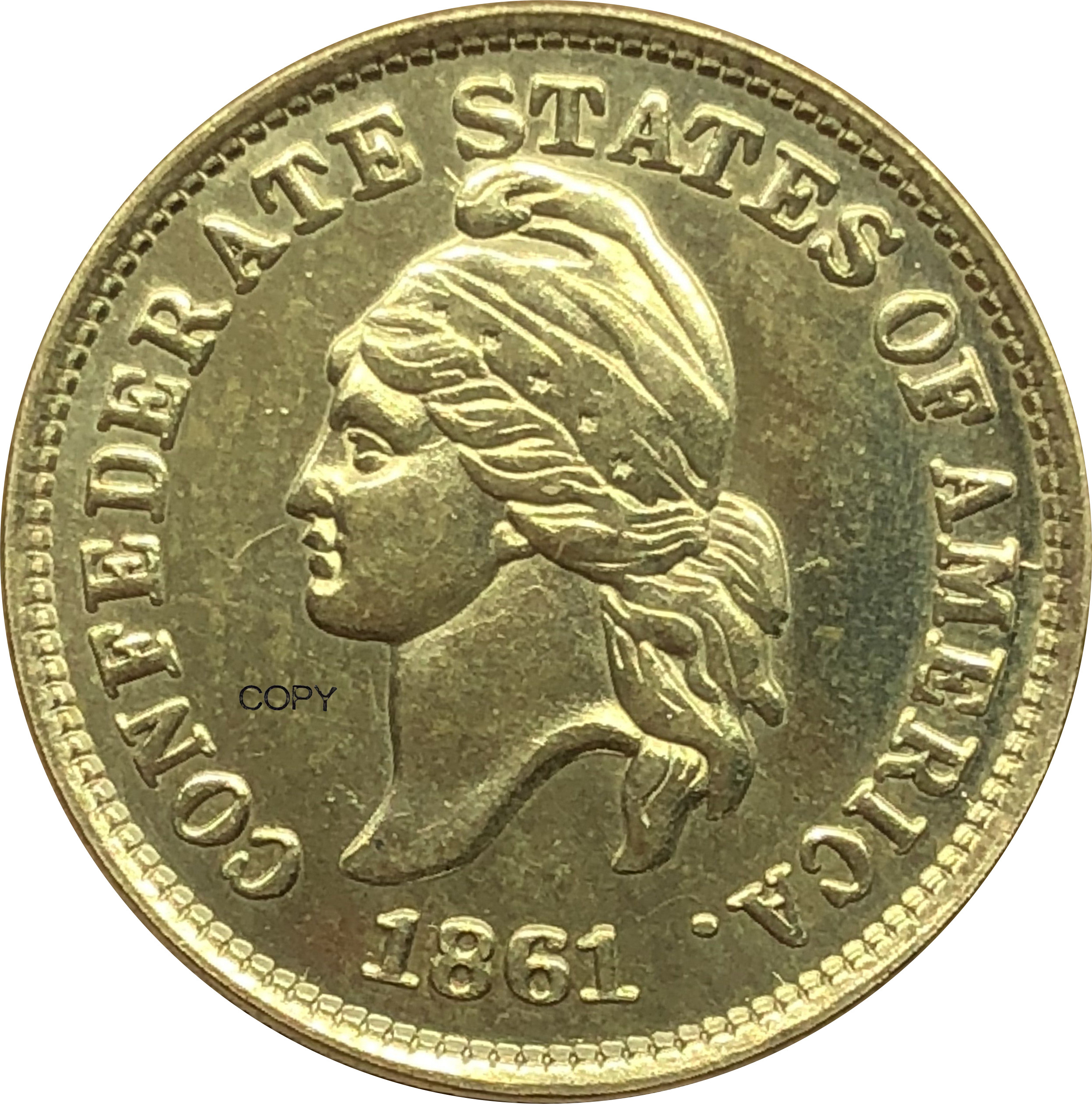 Estados unidos confederados estados da américa 1 cent haseltine restrike 1861 moeda de ouro bronze moedas de cópia de metal