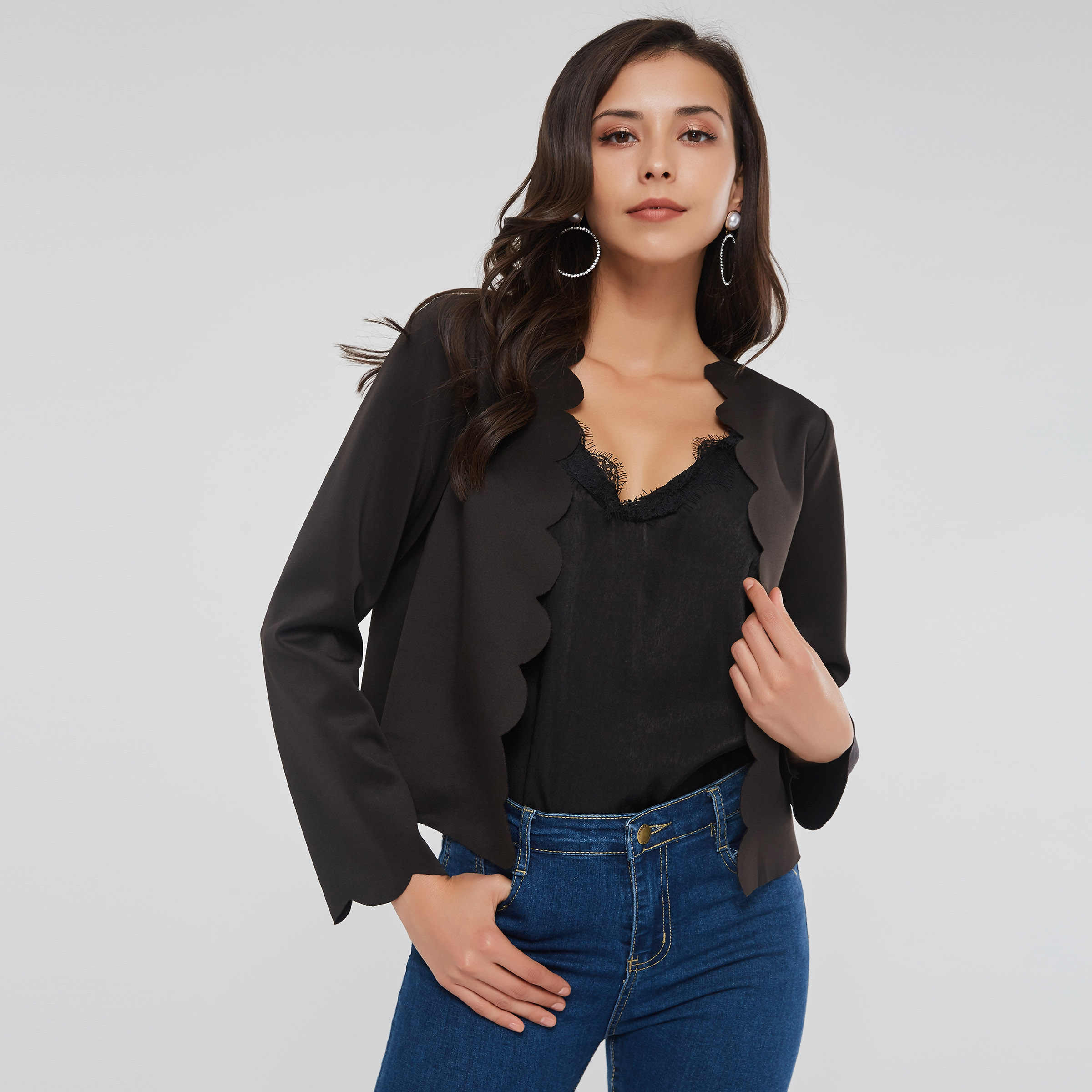 เสื้อผู้หญิง Cardigan ยืดหยุ่น Solid Elegant Simple Black Streetwear ฤดูใบไม้ร่วง Goth Casual Outerwear Stylish เซ็กซี่ Crop TOP BASE Coat