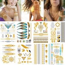 100 Sheets Wholesales Girl Body Art Gold Metallic Temporary Tattoo Sticker Sleeve Chain Bracelet Fake Waterproof  Jewelry Women