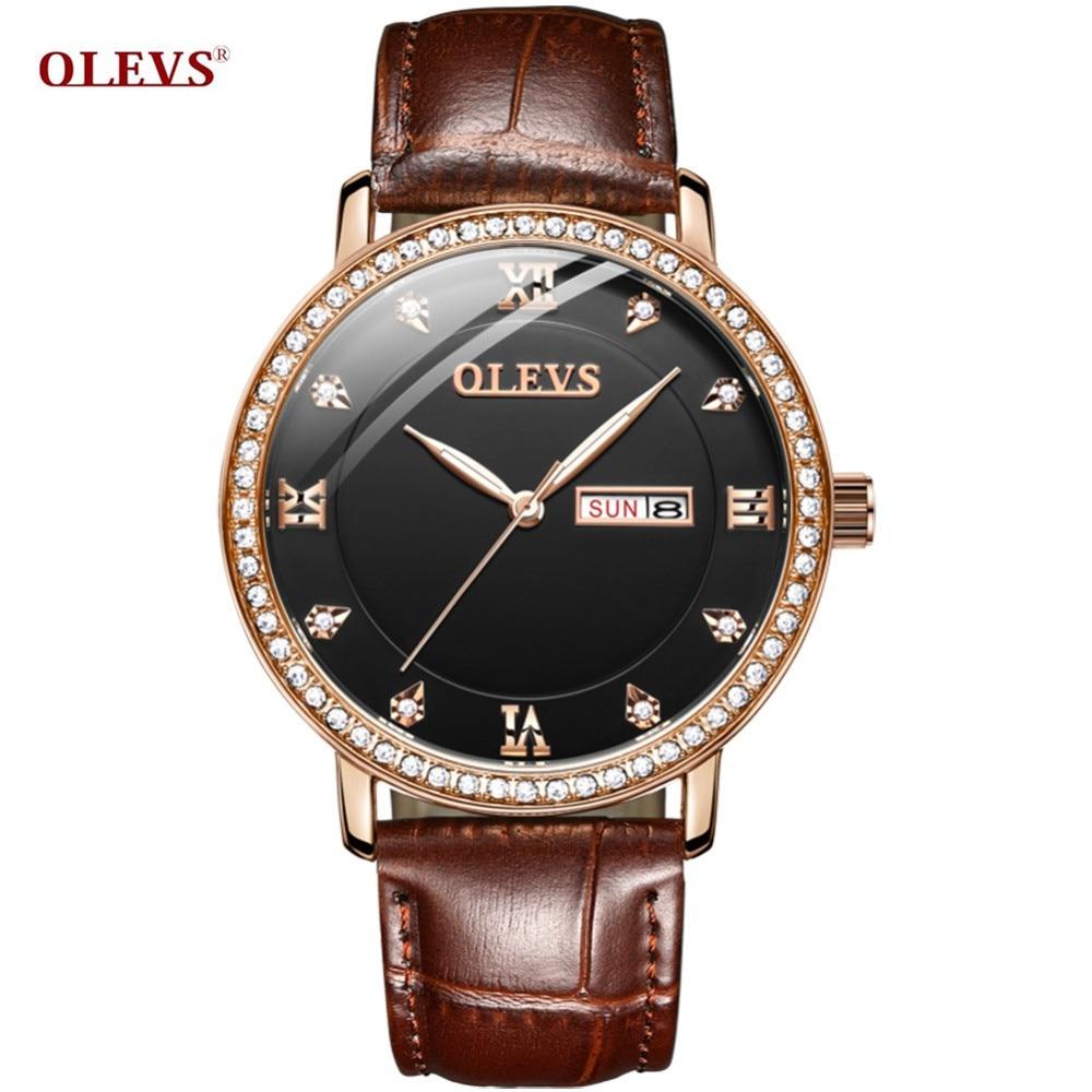 OLEVS Luxury Couple Watches Diamond Men/Women Watches Auto Date Business Montre Homme Waterproof Quartz Clock For Couple Gift