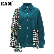 [Eam] Losse Fit Green Plaid Split Big Size Jacket Nieuwe Revers Lange Mouwen Vrouwen Jas Mode Tij Herfst winter 2020 19A-a119(China)