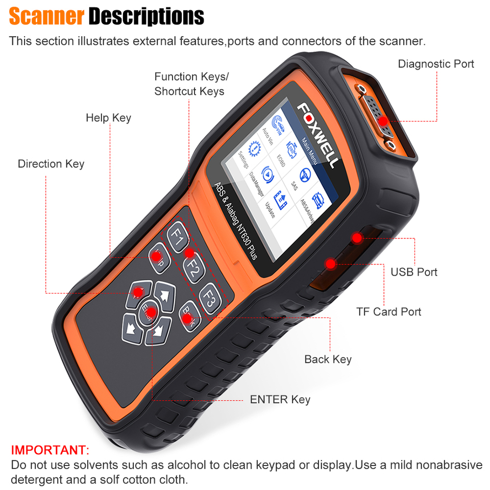 Foxwell NT630 Plus Auto EOBD OBD2 Scanner Car Code Reader ABS Bleeding SRS SAS