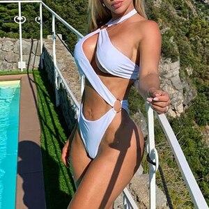 Image 3 - Ekstrawaganckie bikini 2020 nowy biały brazylijski kobieta strój kąpielowy kombinezony jednoczęściowe drążą mikro stroje kąpielowe kobiety wysokie cięcie monokini