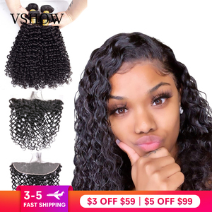 VSHOW Water Wave Bundles With Closure Frontal Remy Hair Extensions 13x4 Brazilian Human Hair Water Wave Bundles With Frontal(China)