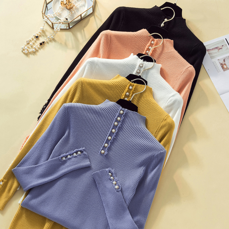 Jumper Sweater Knitted Pullover Female Women Autumn Winter New-Fashion Solid Button Slim