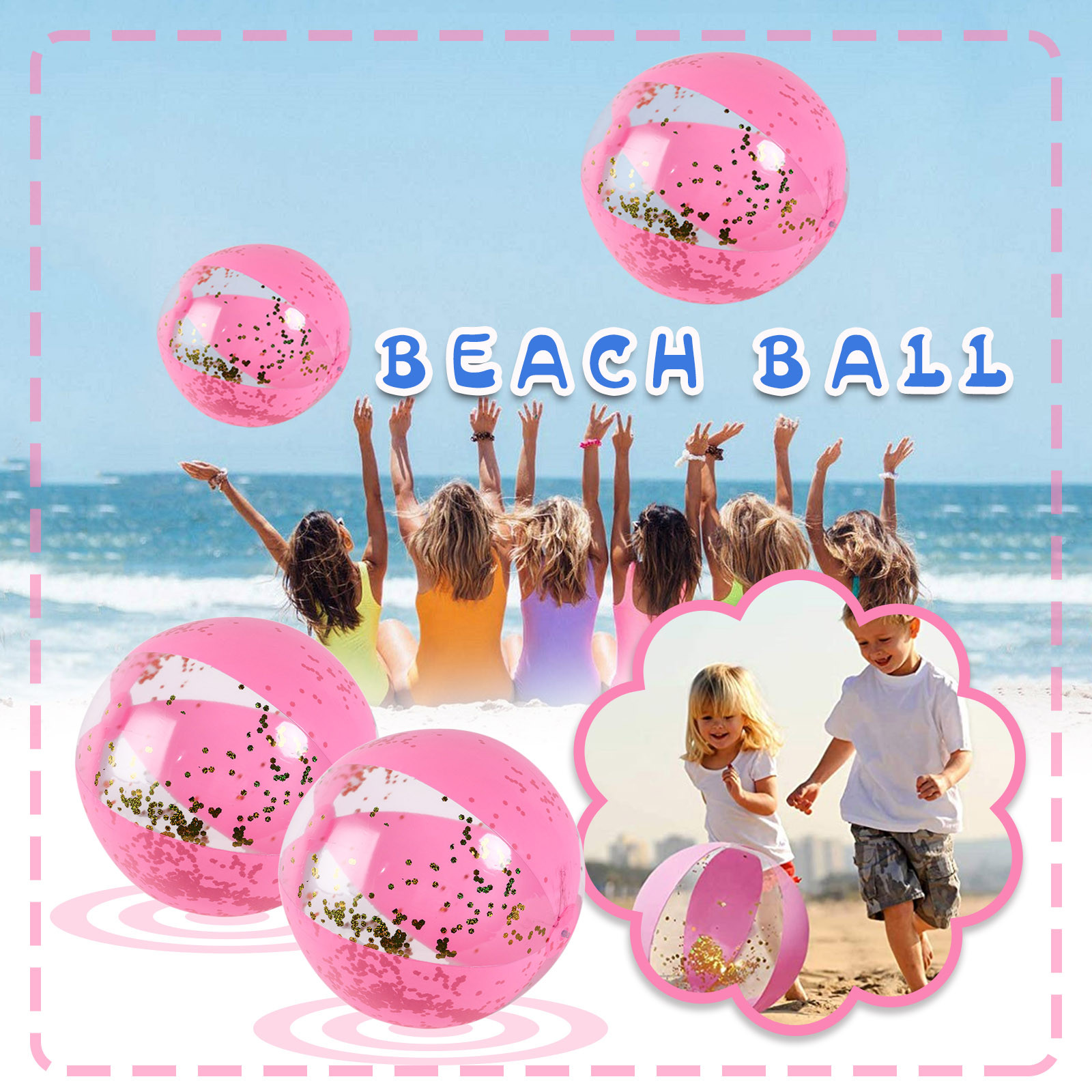 Inflatable Beach Ball Adult Summer Outdoor Sports Swimming Pool Water Toys Game Ball Children Bath Toys Pink Color Water Polo