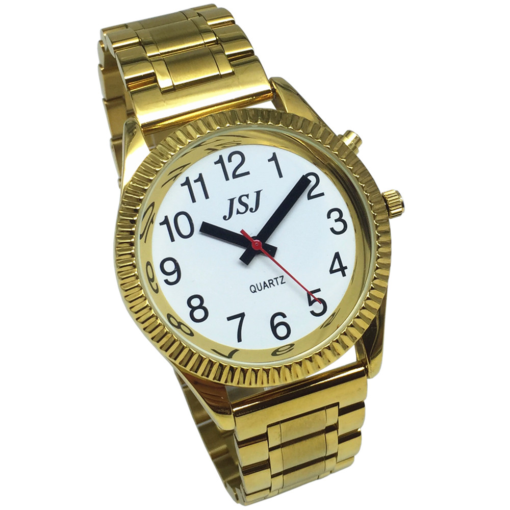 English Talking Watch With Alarm Function, Talking Date And Time, White Dial, Folding Clasp, Golden Case TAG-208