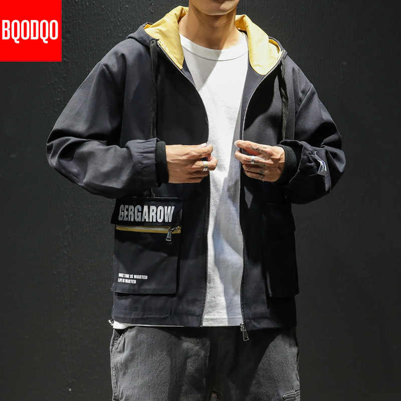 Yellow Fashion Cotton Military Streetwear Jacket Men Black Letter Print Zipper Coat Male Winter Hooded Polit Mens Bomber Jackets