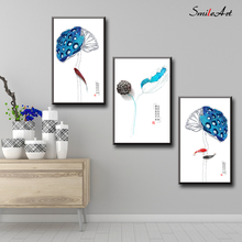Chinese Style lotus Ink And Wash Canvas Wall Pictures For Living Room On The Home Decor cuadros