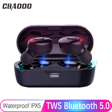 CBAOOO TWS Bluetooth 5.0 Wireless Headset IPX6 Waterproof Sports Stereo with Microphone Earbuds