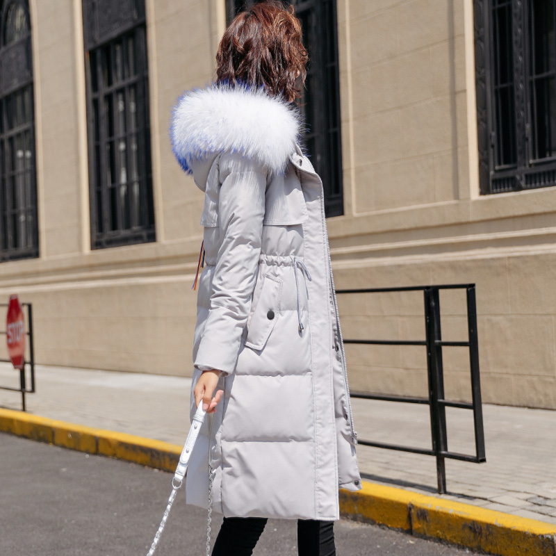 Winter Down Jacket Woman Hooded Slim Long Down Coats Female 90% White Duck Down Parka Real Fox Fur Ladies Clothes LWL1345