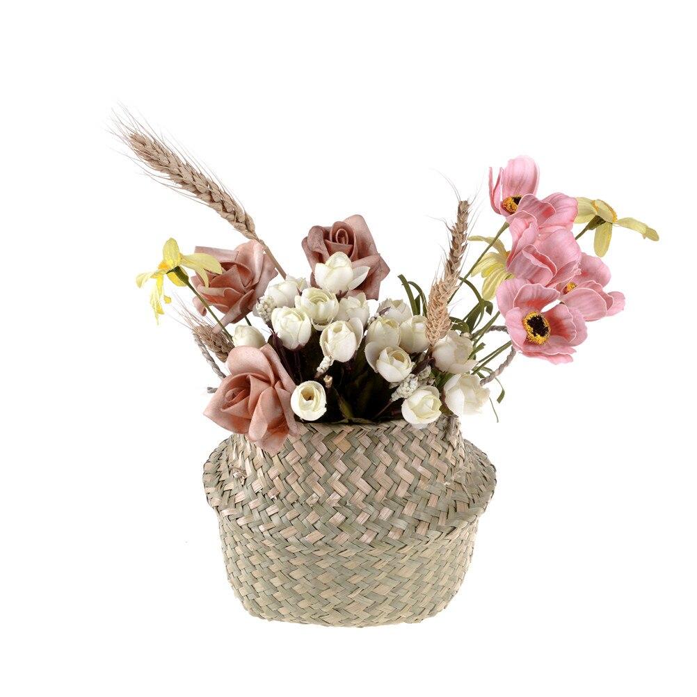 Ручная работа бамбук Хранение корзины складной белье солома пэчворк плетение ротанг водоросли живот сад цветок горшок кашпо корзина