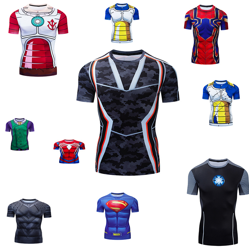 Niños 3D superhéroe camiseta compresión Deporte Camiseta 2019 moda Superman capitán Spiderman camisetas de manga corta apretadas chico camiseta