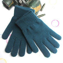 Men and women cycling plus velvet thick knitted wool gloves solid color warm and cold cycling gloves Autumn And Winter