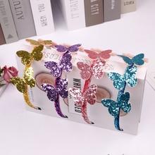 Блестящий ободок с бабочкой, детский подарок, повязка на голову принцессы, 1 шт., вечерние аксессуары для волос для девочек, блестящие детские головные уборы ручной работы