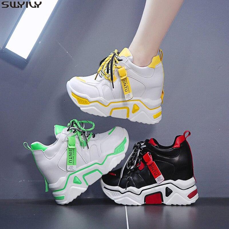 SWYIVY PU Wedge Shoes Women Sneakers Platform High Heel Women Casual Shoes 2020 Spring Solid Female Shoes Fashion Ladies Shoe 40