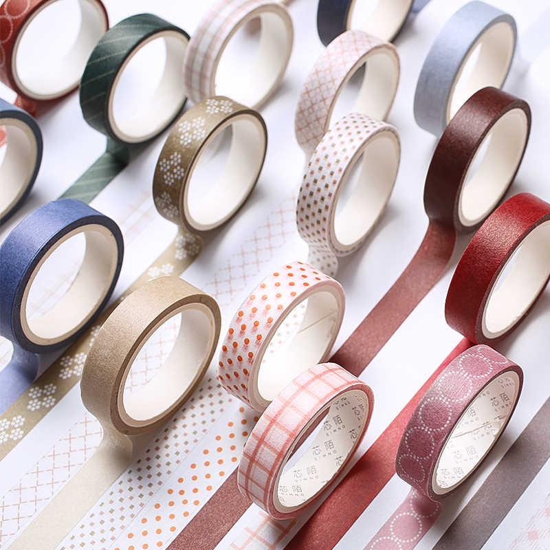 5 יח'\סט צבע Washi מיסוך קלטת דביק דקורטיבי נייר קלטת סט DIY קישוט משרד מכתבים Scrapbook