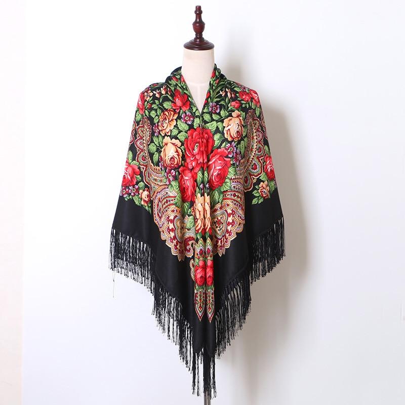 Winter Blanket Shawl Russian National Babushka Oversize Retro Women Tassel Foulard Ethnic Square Poncho Hijab 160cm Wrap Scarf