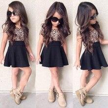 Leopard 2021 Summer New Fashion Baby Girls Kid Short Sleeve T-shirt Patchwork Girls Dress Short Dresses Princess TUTU Dress 1-6Y