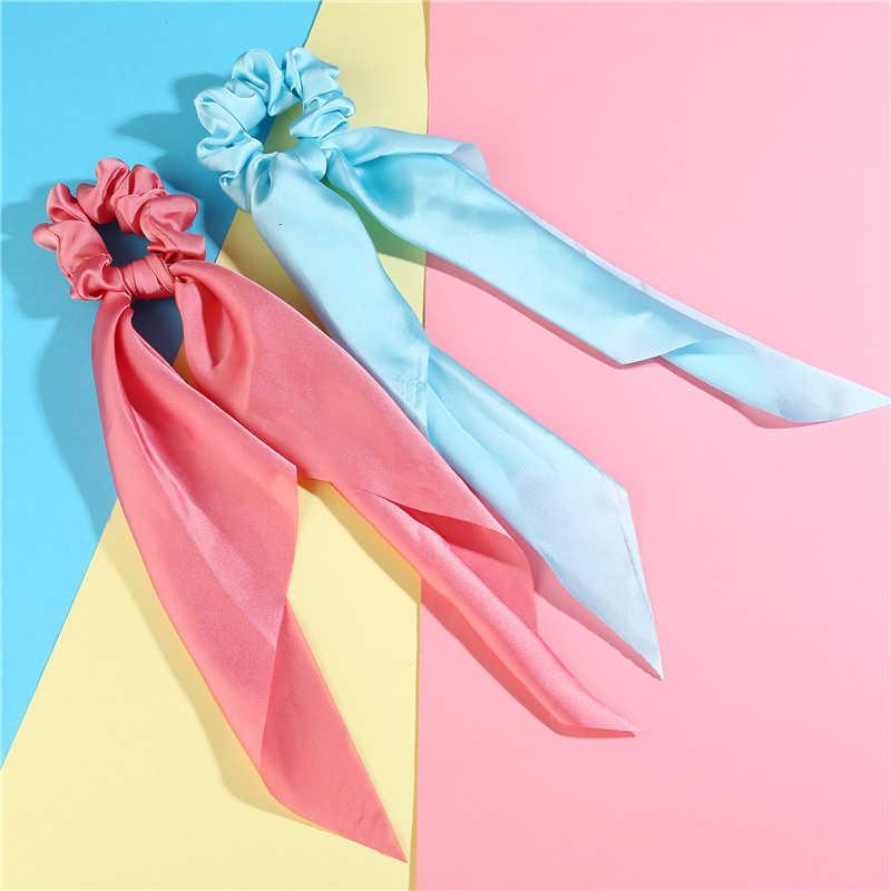 Accessoires de cheveux de mode longue écharpe rubans Scrunchie pour les femmes nœud papillon élastique élastique pour queue de cheval fille bandes de cheveux Accesorios Mujer