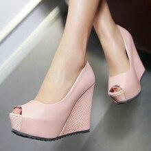 Słodki różowy biały klin platformy wysokie obcasy buty damskie obcasy z wystającym palcem buty na koturnie obuwie damskie wiosna lato pompy buty kobieta