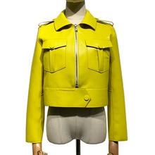 Damen Echte Schafe Leder Jacke Frauen Stilvolle Echt Schaffell Top Mode Lammfell Frühling Outwear
