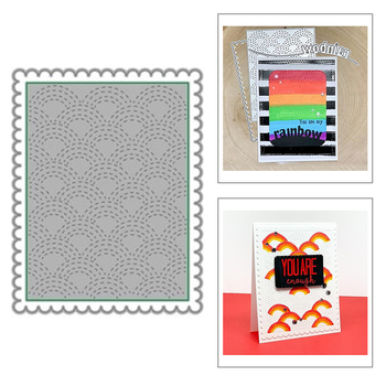 2021 New Rectangle Wavey Background Metal Cutting Dies and Lace Frame Die Cut Scrapbooking For Crafts Card Making no Stamps Sets image