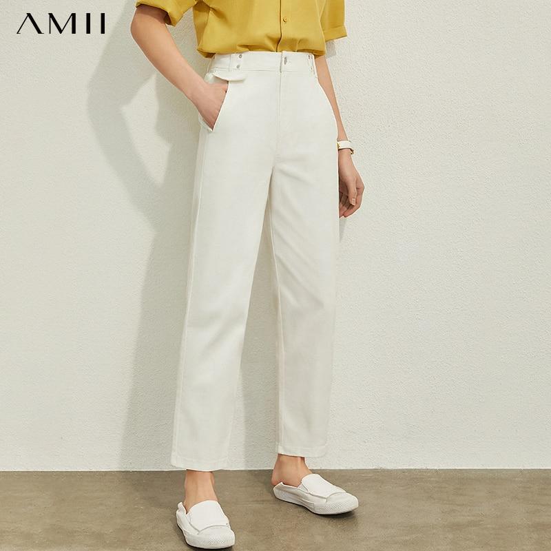 AMII Minimalism Spring Summer Causal Solid Denim Casual Pants Women High Waist Straight Female Jeans 12040296