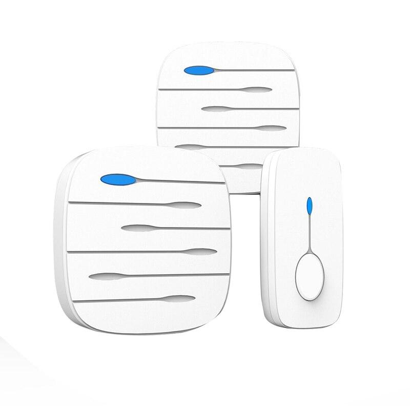 MOOL LED Smart Doorbell Waterproof 300M Remote Mini Wireless Door Bell 52 Chimes 20-80DB Door Ring(EU Plug)