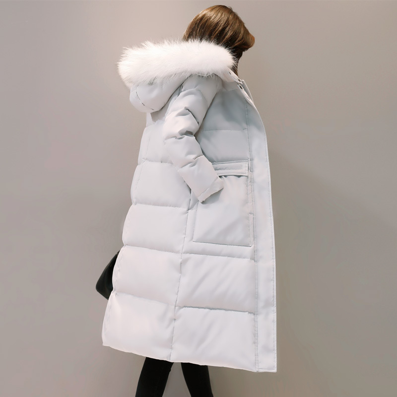 Winter Women's Jacket Korean Plus Size Down Jacket Women Big Fur Collar Womens Coat Overcoat Parkas Mujer 2020 KJ433 S