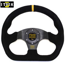 OM D-Shape Steering Wheels Suede Black JDM Modified Racing 13 Inch 325mm Flat Drift Universal Car Sport Simulated Game With Logo