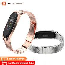 Mijobs Mi Band 4 Strap Metal Wrist For Xiaomi band 3 Watches Bracelet Smart Wristband