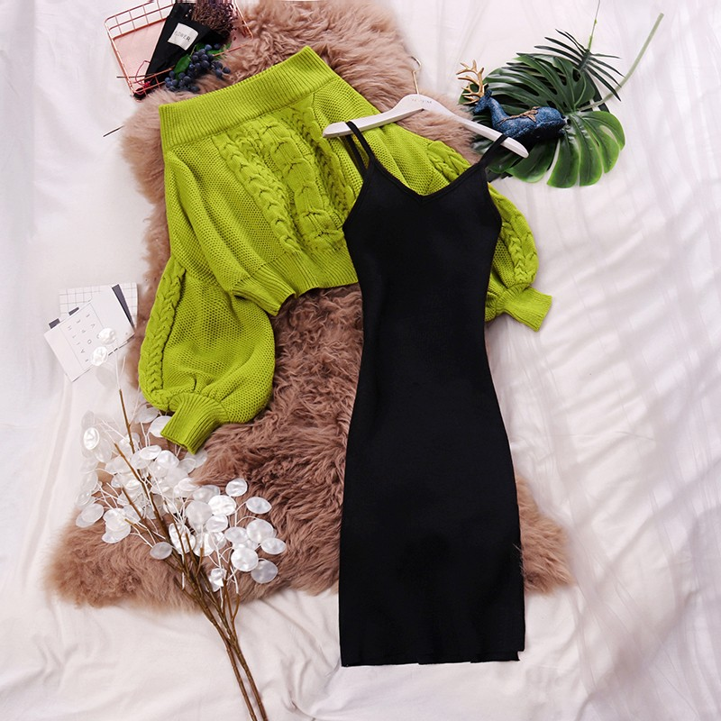HISUMA Spring New Female Slash Neck Lantern Sleeve Knit Blouses Sweater + Strap Fairy Sheath Dress Two-piece Sets Women Suits