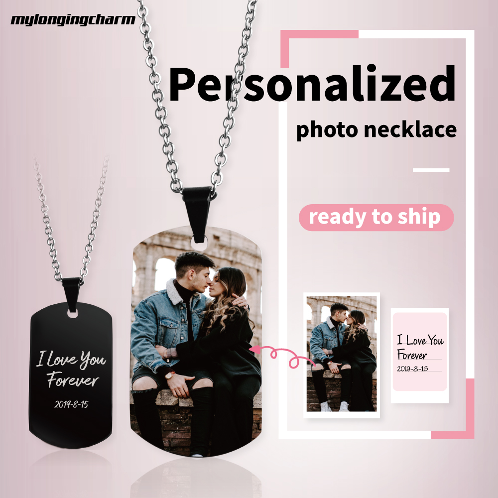 MYLONGINGCHARM Personalize Photo Necklace-22x39mm Black Pendant-custom your message at the back side-D0126