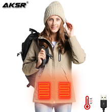 AKSR Women Winter Heated Jacket USB Heating Jackets Hooded Rain Jacket Waterproof Windbreaker Fishing Suits Hiking Camping Coat 2018 new fishing clothing men and women autumn winter waterproof warm fishing jackets patchwork hooded mountaineering suits